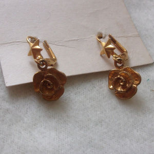 Jewelry - Roses and Stars gold tone pierced earrings